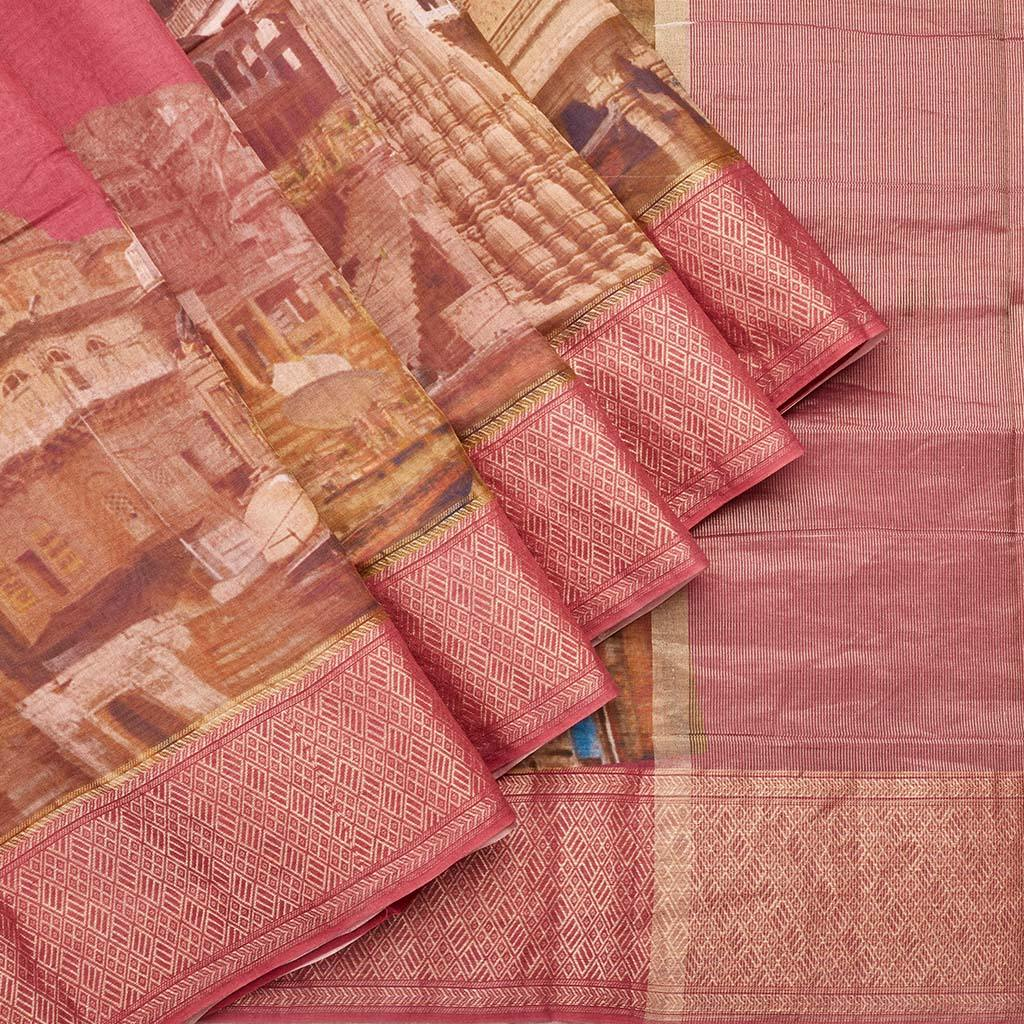 Berry Pink Chanderi Printed Saree With Temple Motifs-244979 - Singhania's