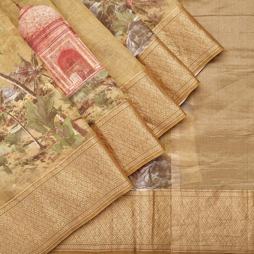 Mustard Yellow Chanderi Printed Saree With Taj Mahal Motifs-244996 - Singhania's