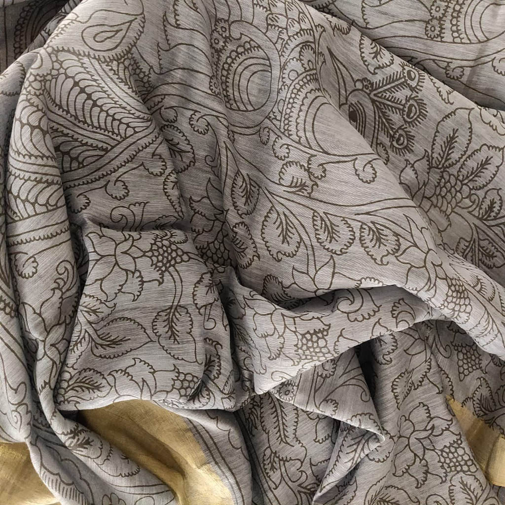 SALE060448-Grey Linen Printed Handloom saree