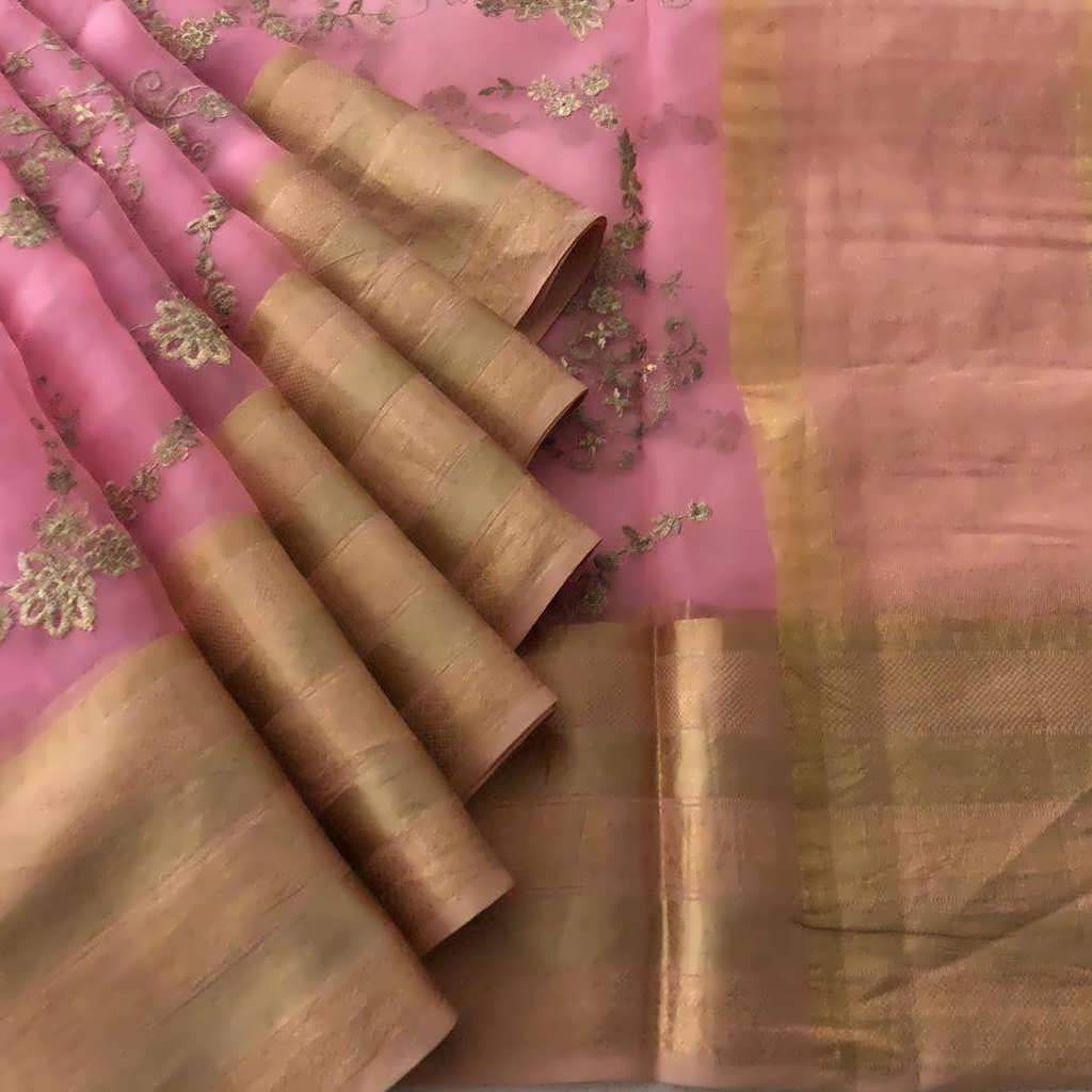 Buy Baby Pink Embroidered Organza Saree.