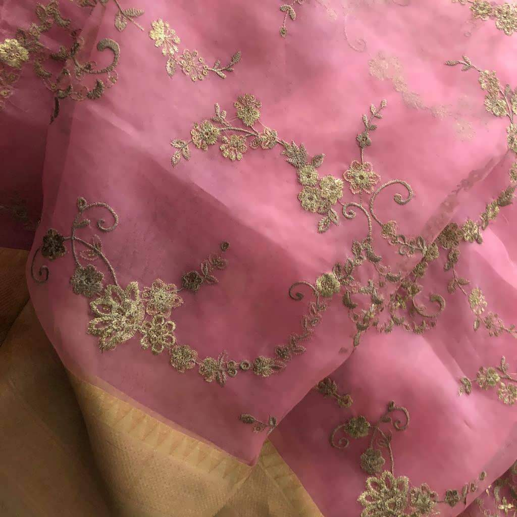 SALE061190-Baby Pink Embroidered Organza Saree.