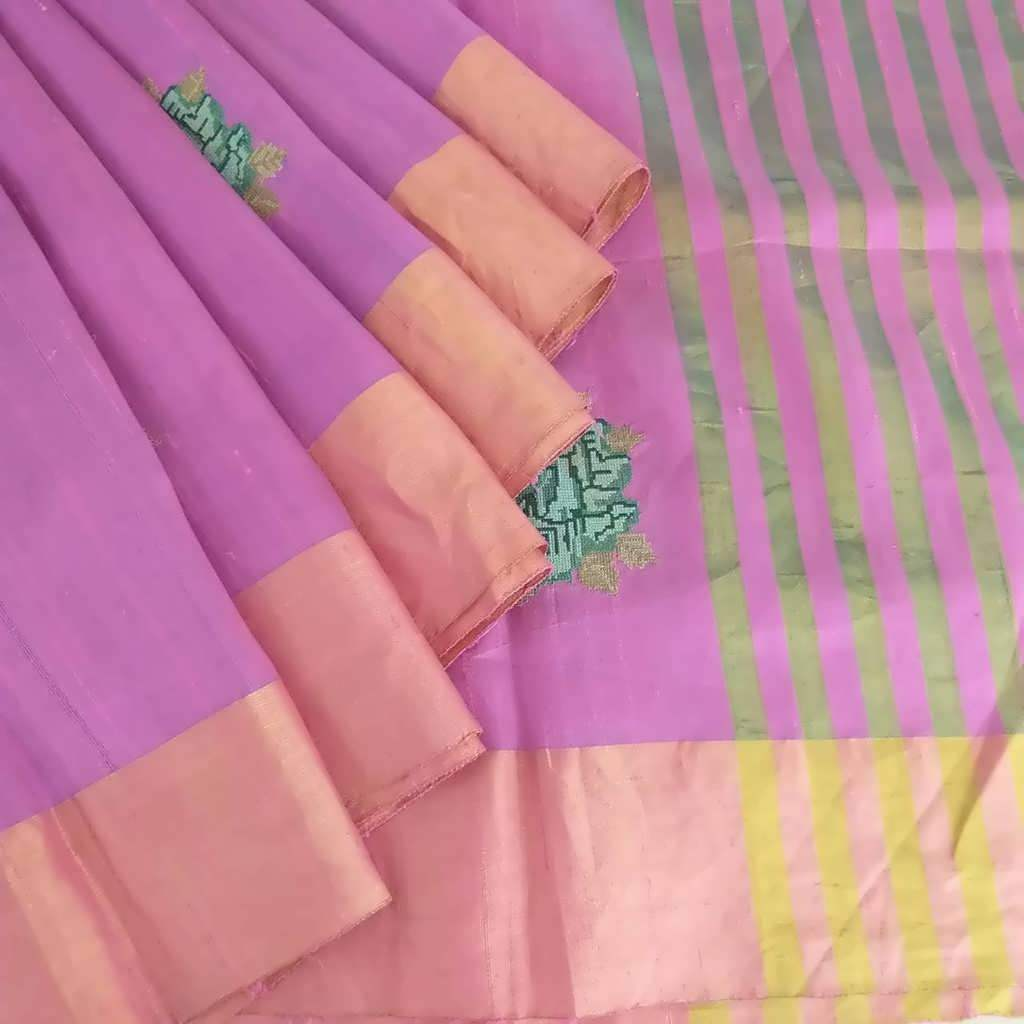 Buy Bubblegum Pink Embroidered Raw Silk Saree.