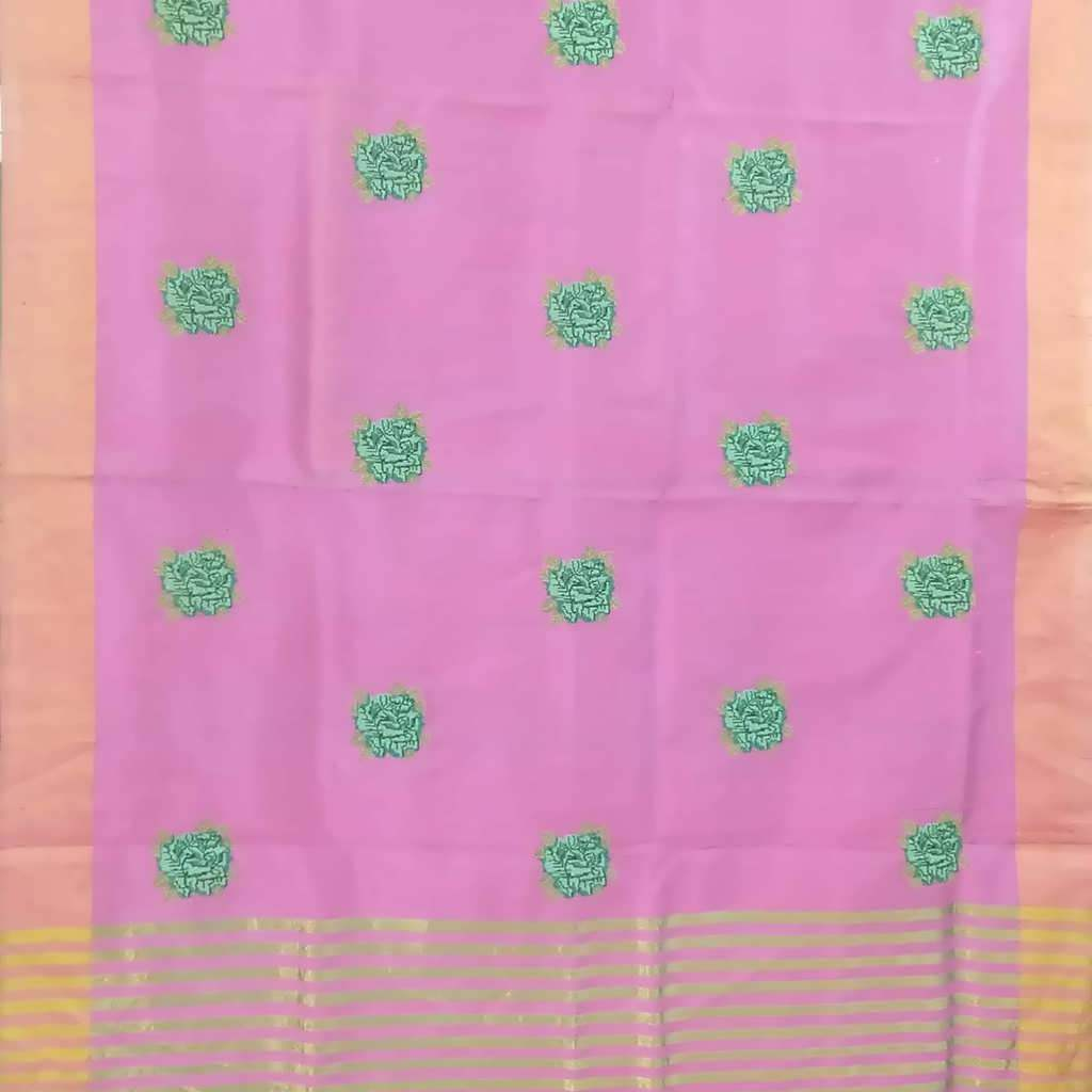 SALE076914-Bubblegum Pink Embroidered Raw Silk Saree.