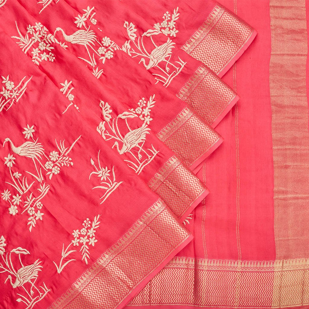 Buy Strawberry Pink Handloom Embroidered Saree