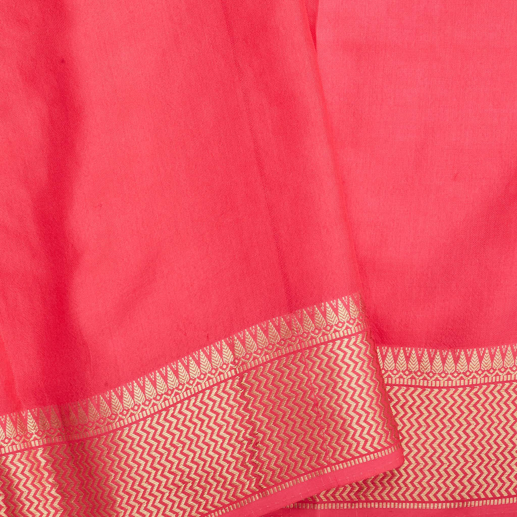 SALE094438-Strawberry Pink Handloom Tussar Embroidered Saree