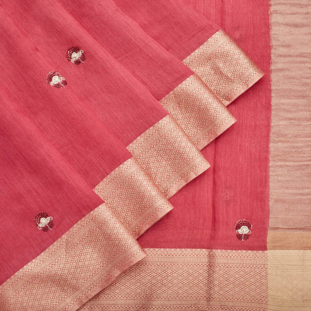Buy Rouge Pink Handloom Embroidered Saree