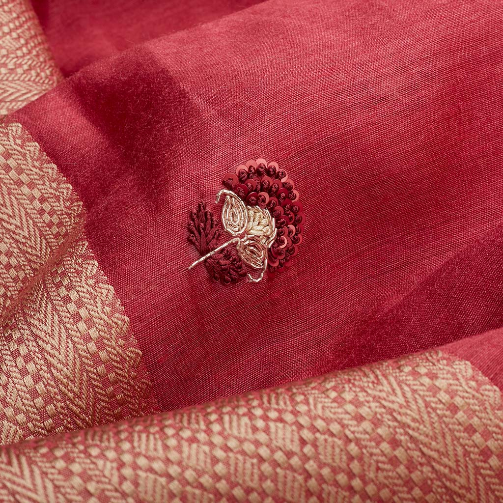 SALE095031-Rouge Pink Handloom Tussar Embroidered Saree