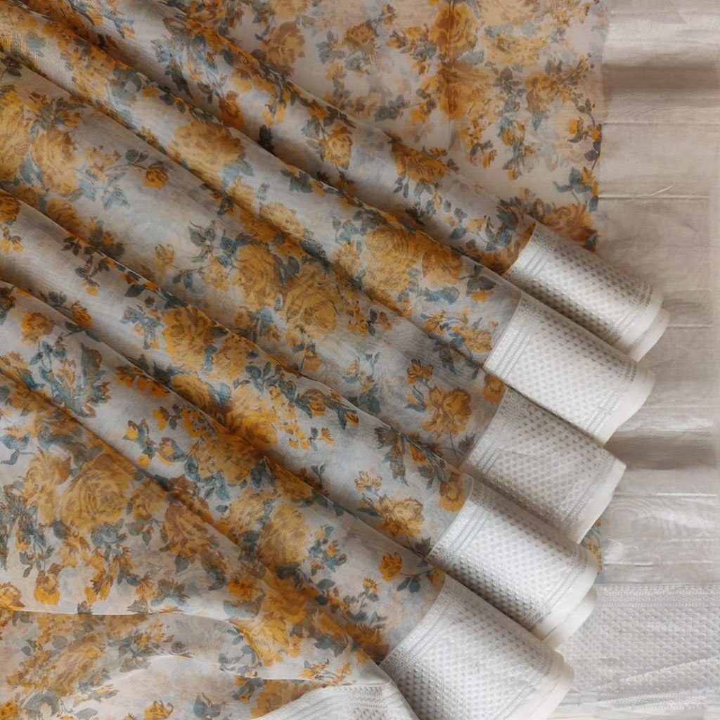 Buy White Organza Floral Printed Saree