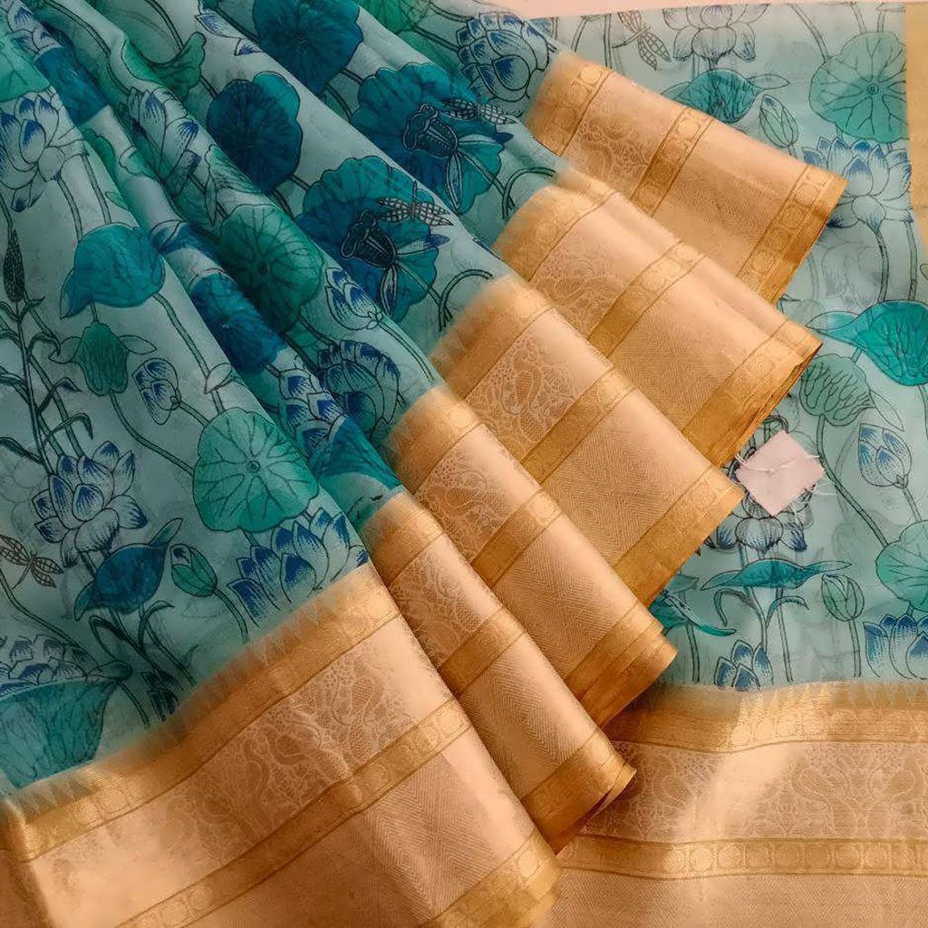 Buy Light Sky Blue Printed Organza Saree.