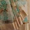 Buy Powder Cream Printed Organza Saree.