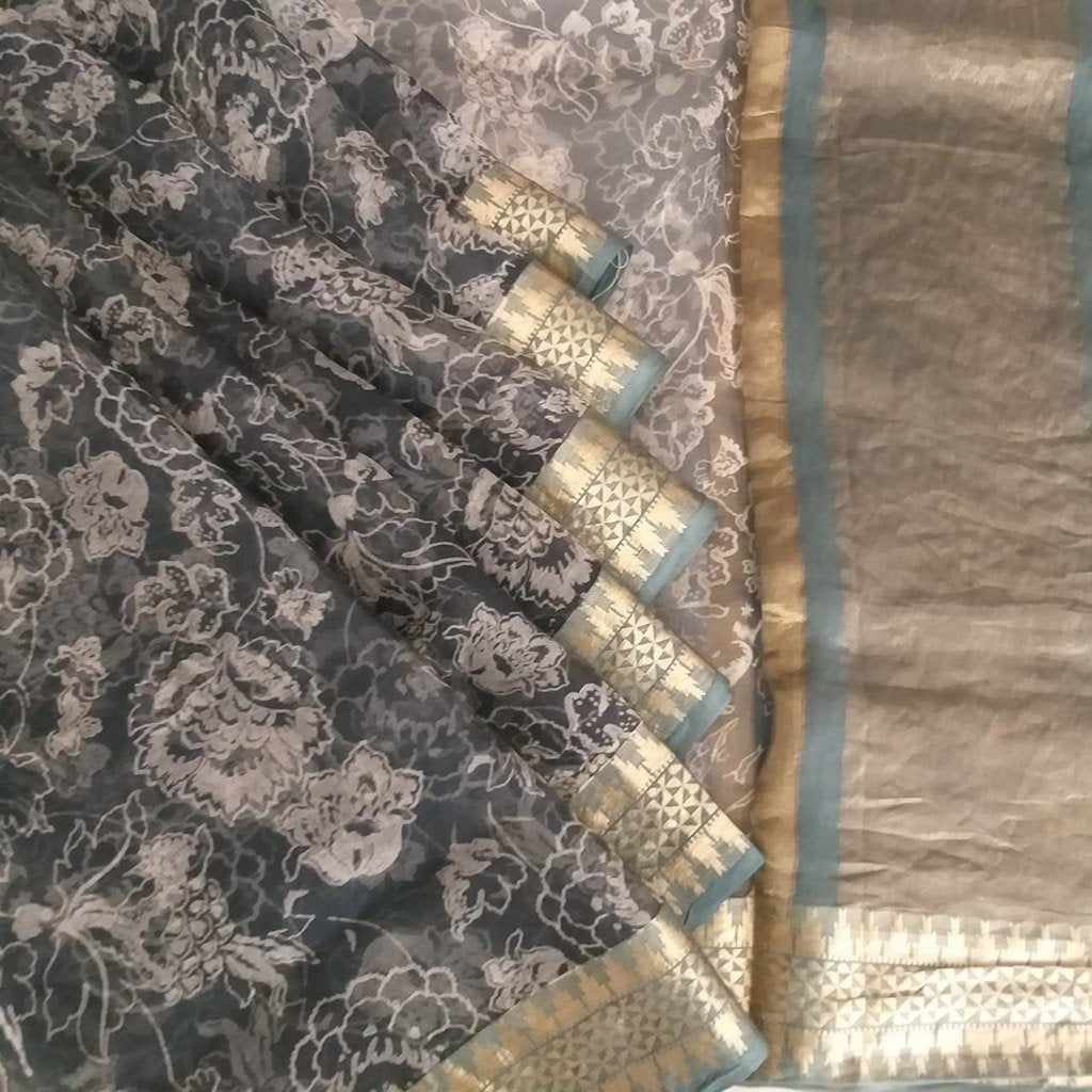 Buy Grey Organza Printed Saree