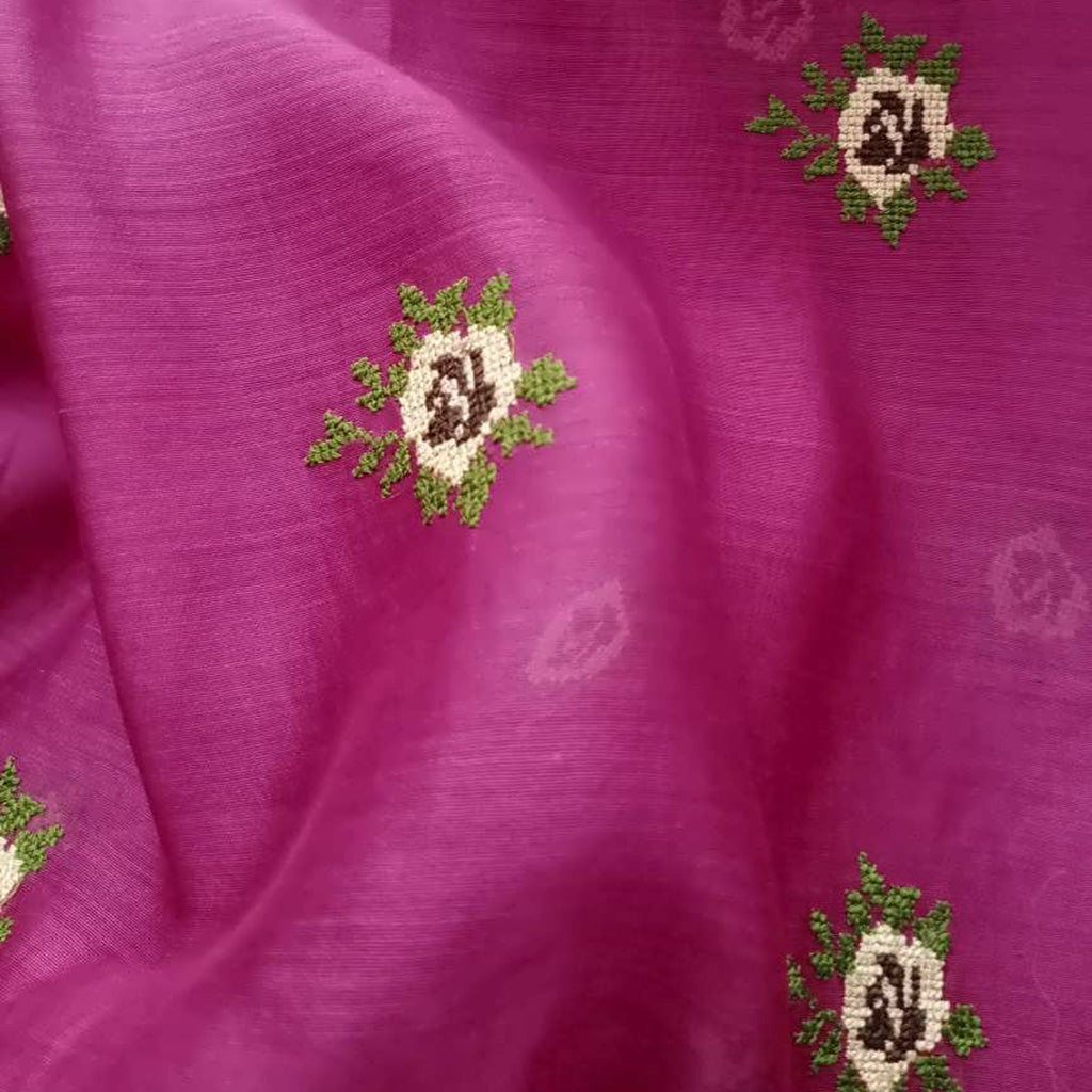 SALE105531-Rani Pink Embroidered Handloom Saree.