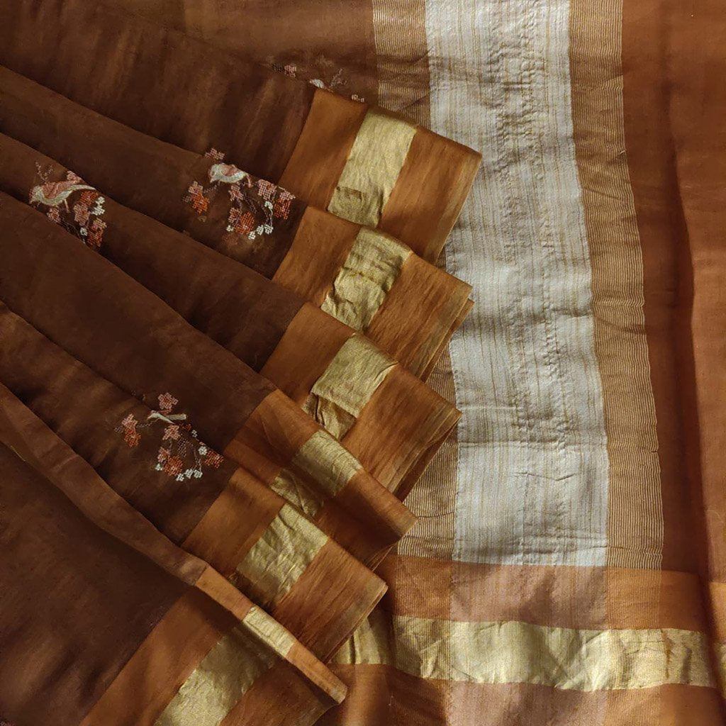 Buy Brown Embroidered Handloom Saree.