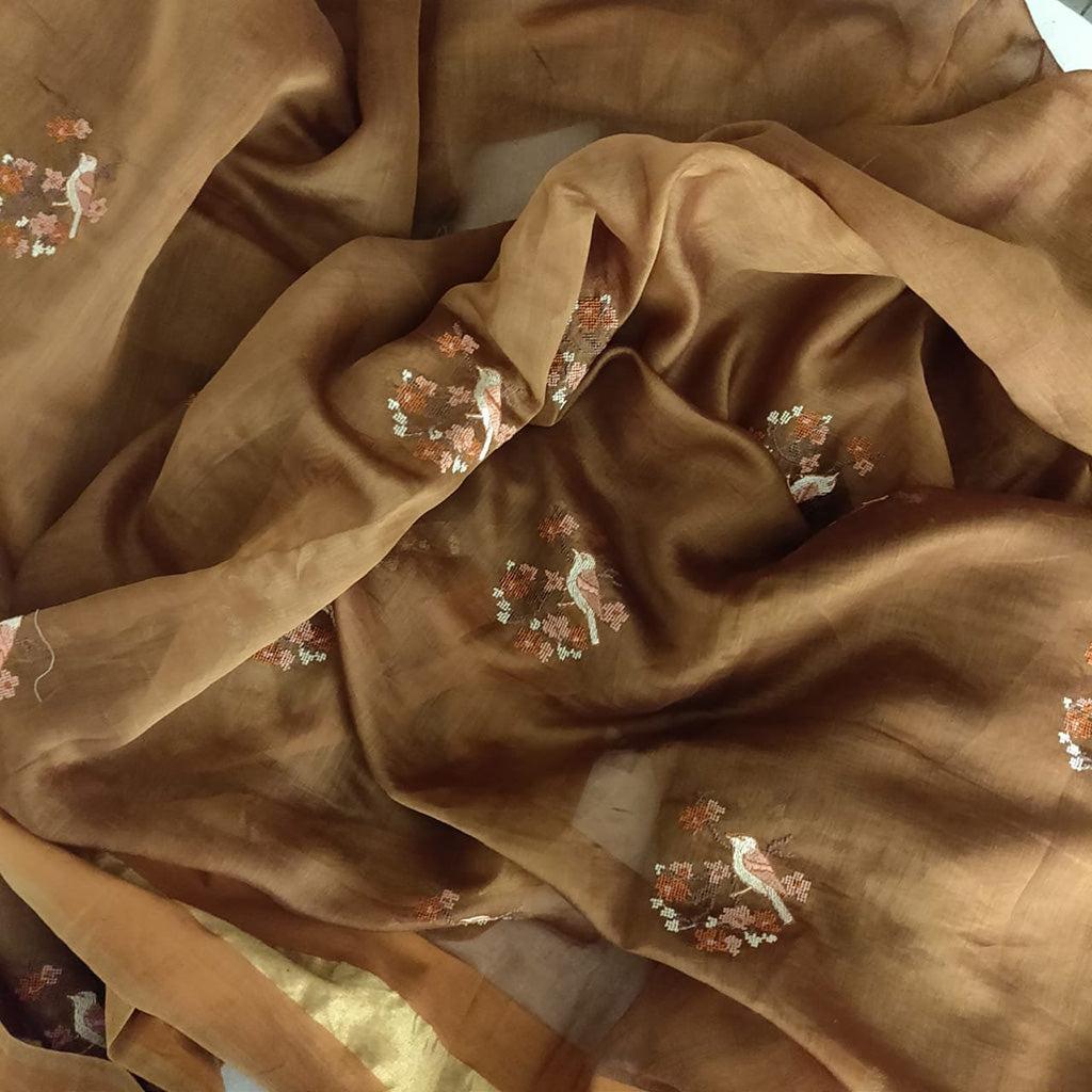 SALE106907B-Brown Embroidered Handloom Saree.