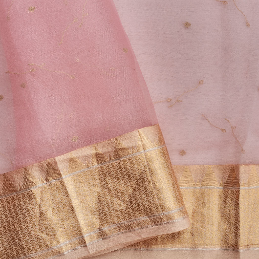 SALE108084-Dusky Peach Embroidered Organza Saree