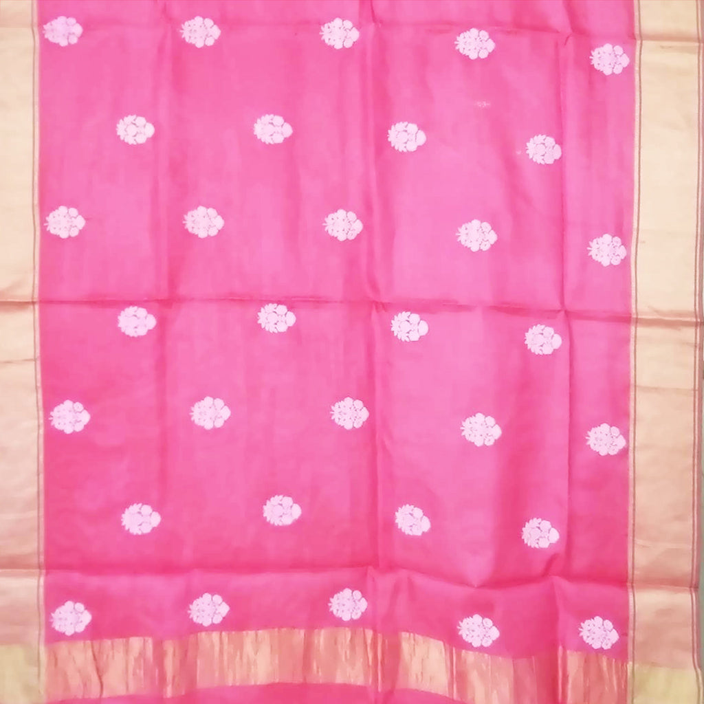 SALE109300-Deep Pink Embroidered Tussar Saree.