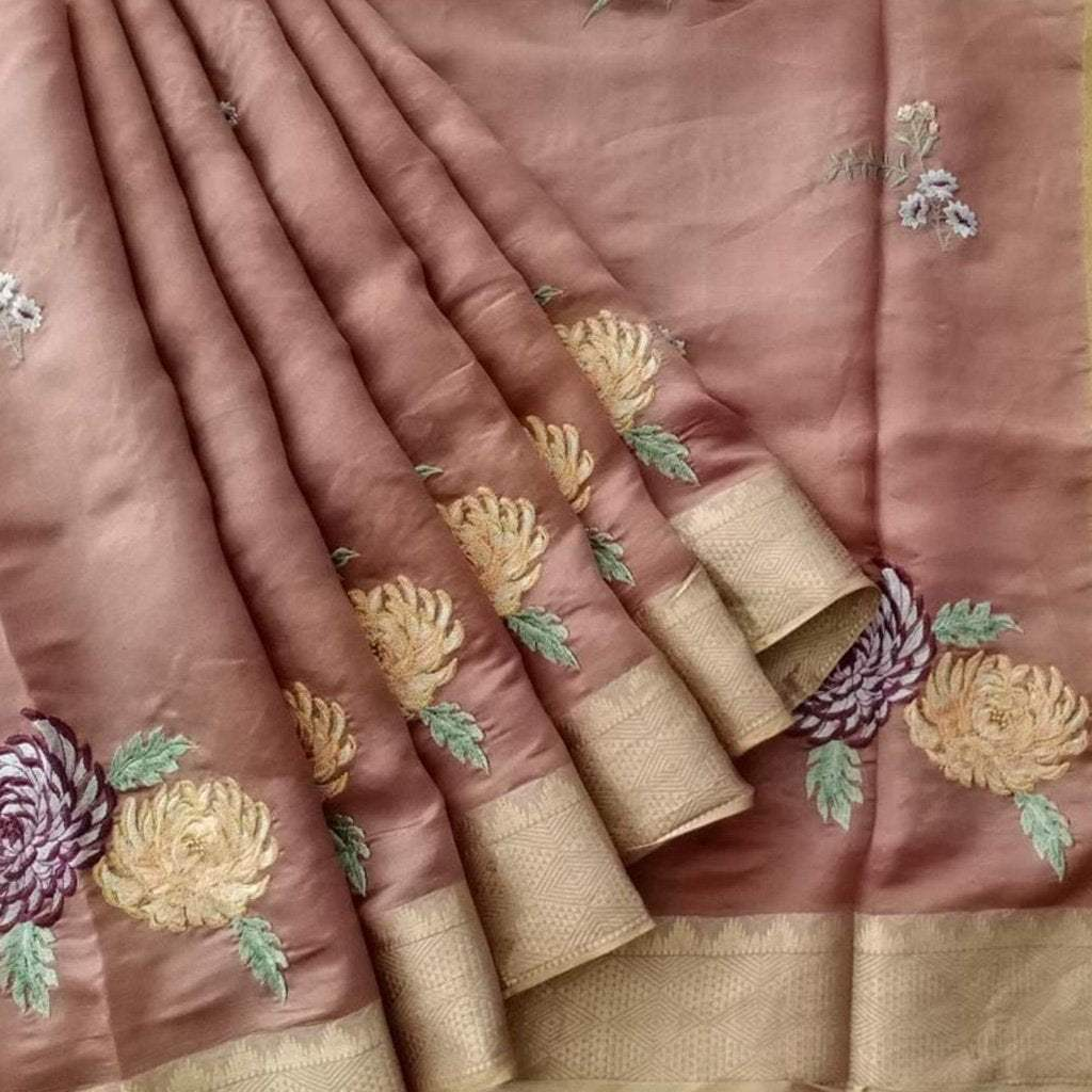 Buy Brown Tussar Embroidered Saree