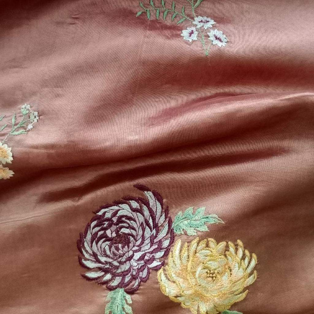 SALE109454-Brown Handloom Tussar Embroidered Saree