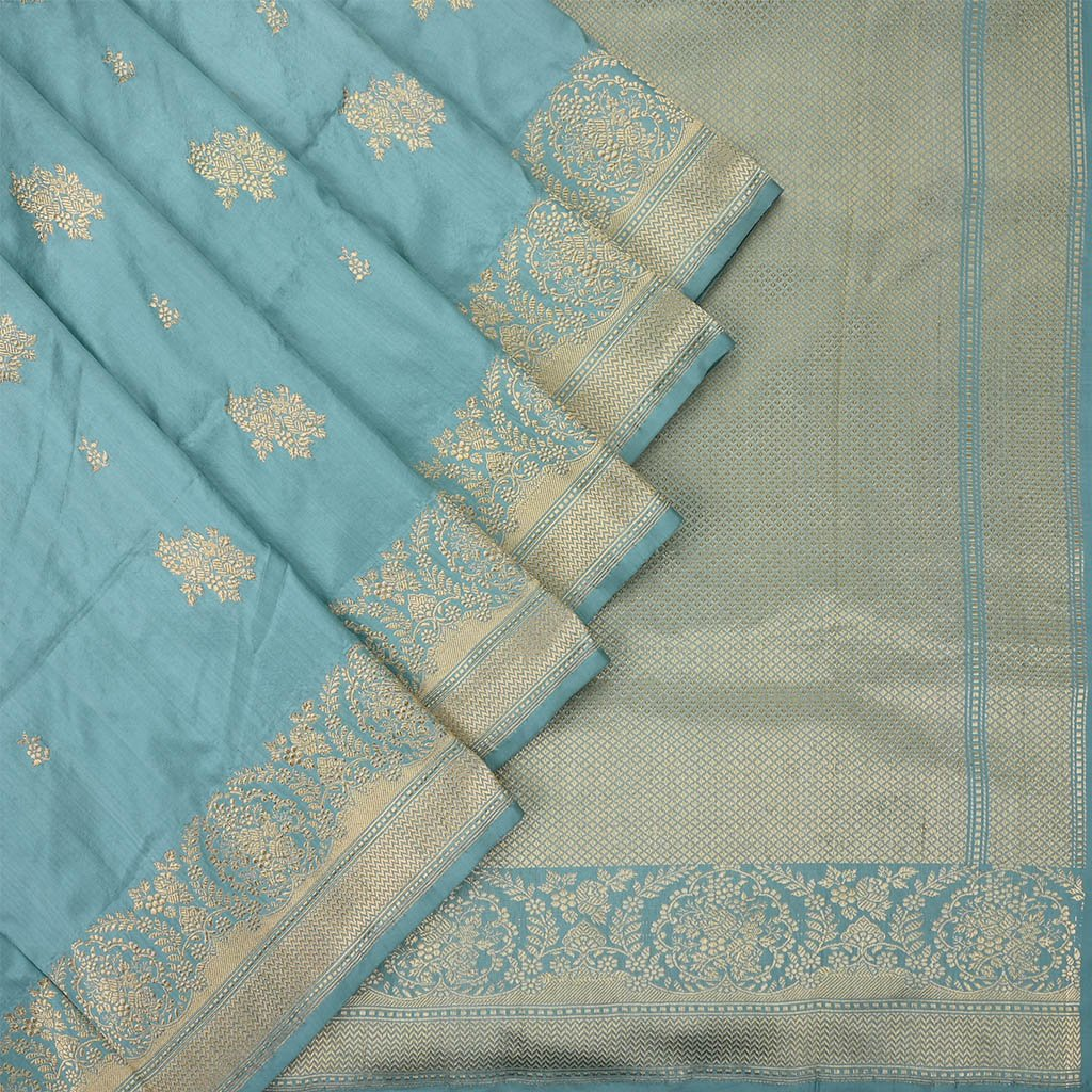 Buy Pastel Blue Banarasi Silk Handloom Saree