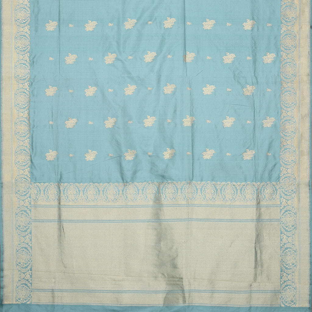 SALEA102-Pastel Blue Banarasi Silk Handloom Saree
