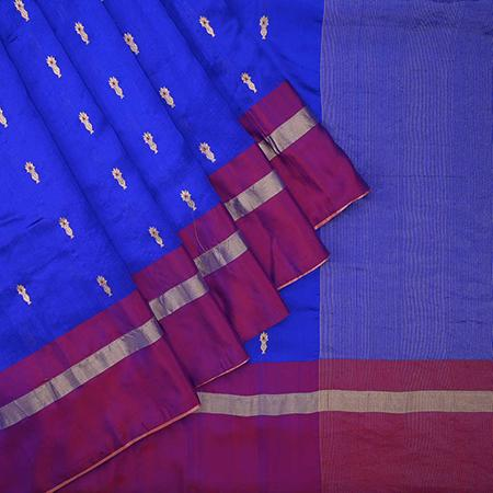 Buy Ultra Marine Blue Pranpur Silk Handloom Saree