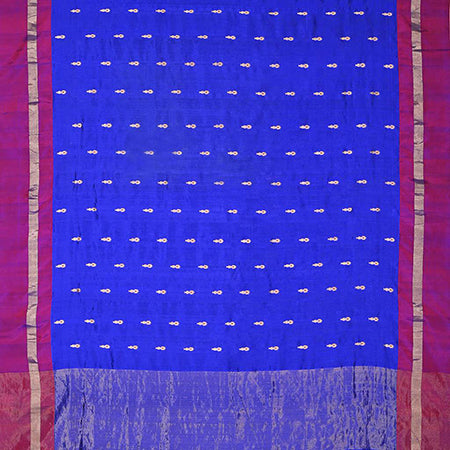 SALEB52-Ultra Marine Blue Pranpur Silk Handloom Saree