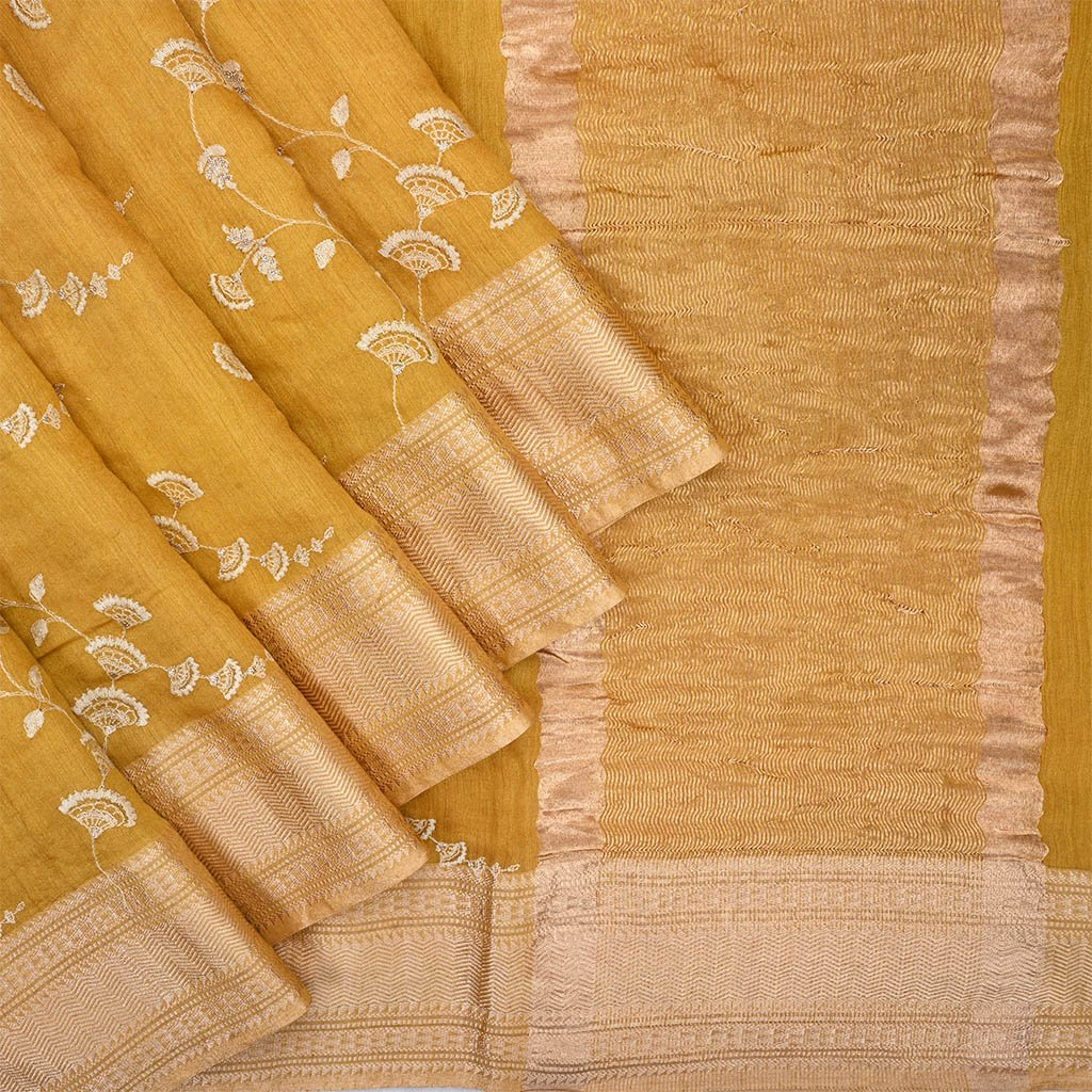 Buy Mustard Yelloe Embroidered Tussar Saree.