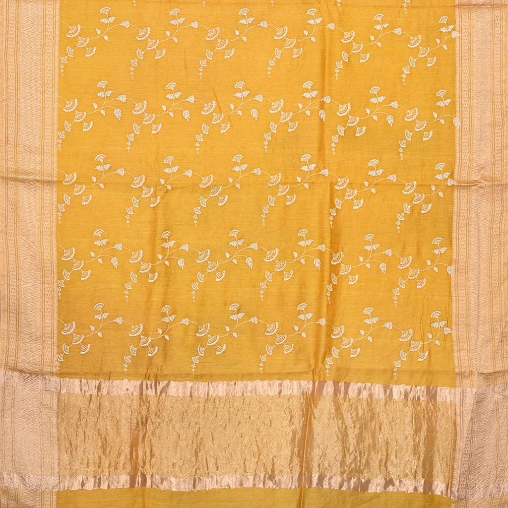 SALEE2-Mustard Yelloe Embroidered Tussar Saree.