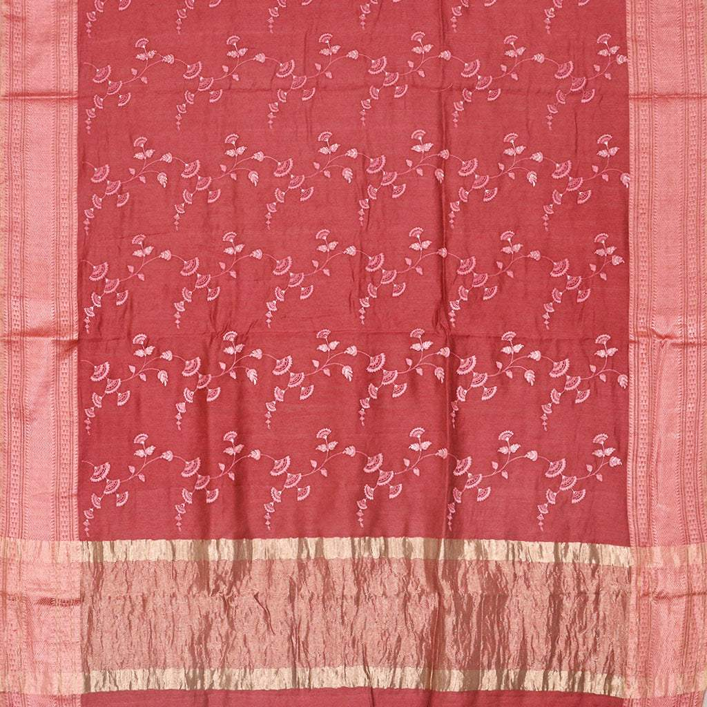 SALEE5-Crimson Red Embroidered Tussar Saree.