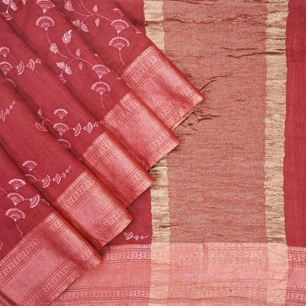 Buy Crimson Red Embroidered Tussar Saree.