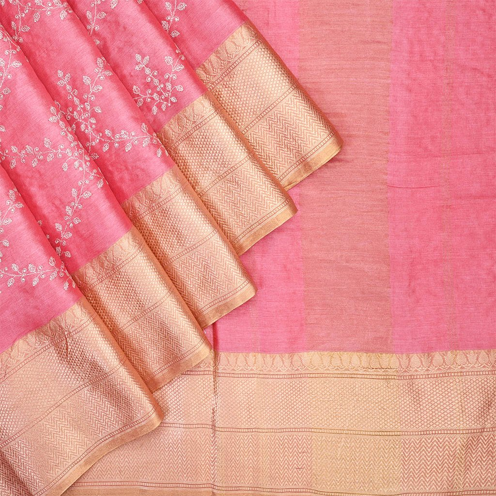 Buy Punch Pink Embridered Tussar Saree.