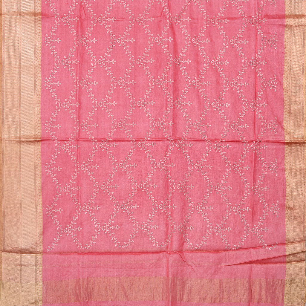 SALEE6-Punch Pink Embridered Tussar Saree.