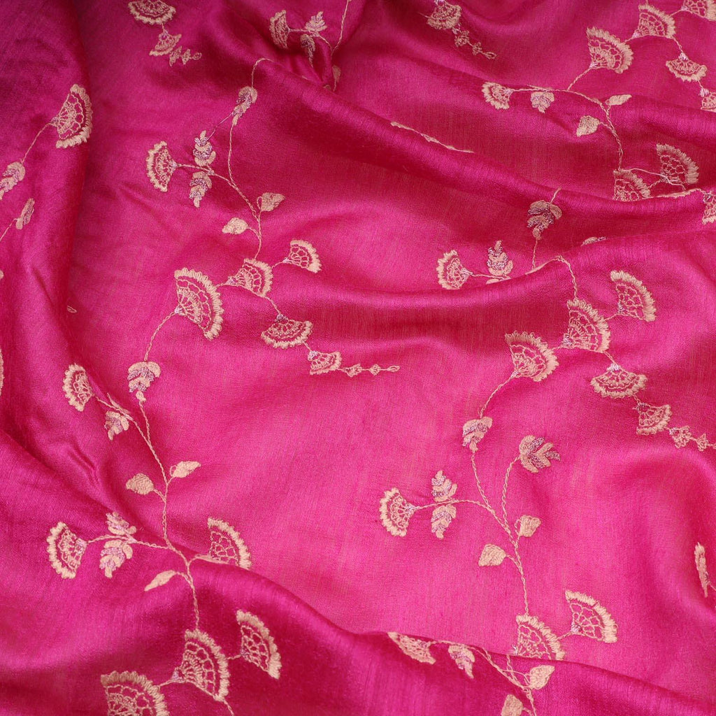 Rani Pink Tussar Embroidery Saree With Floral Jaal-SALEE9 - Singhania's