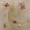 Buy Cream Organza Embroidery Fabric