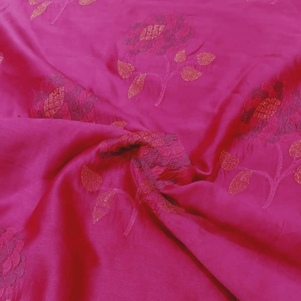 Buy Pink Chanderi Embroidery Fabric