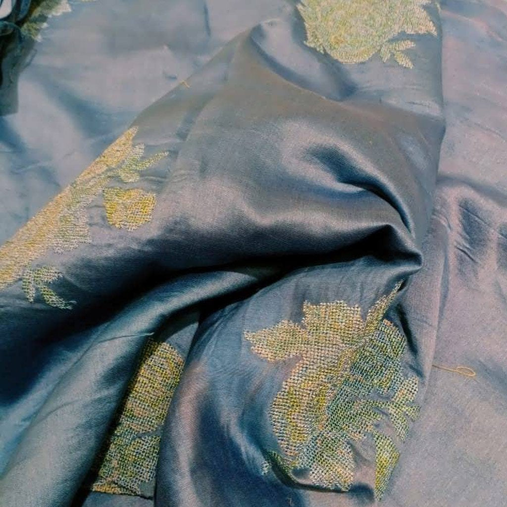 Buy Blue Chanderi Embroidery Fabric