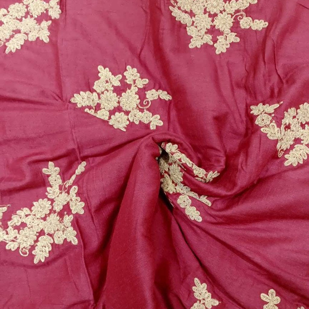 Buy Red Tussar Embroidery Fabric