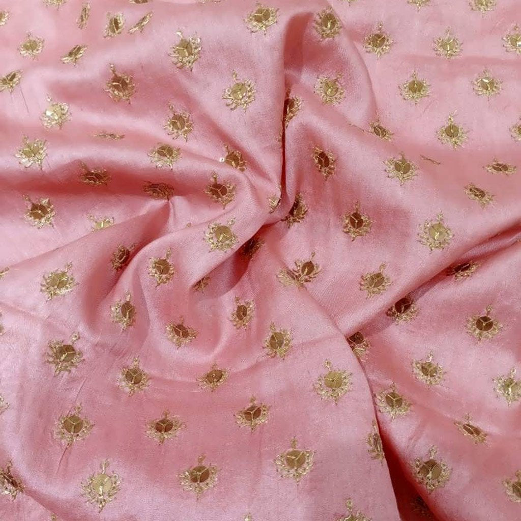 Buy Pink Tussar Embroidery Fabric