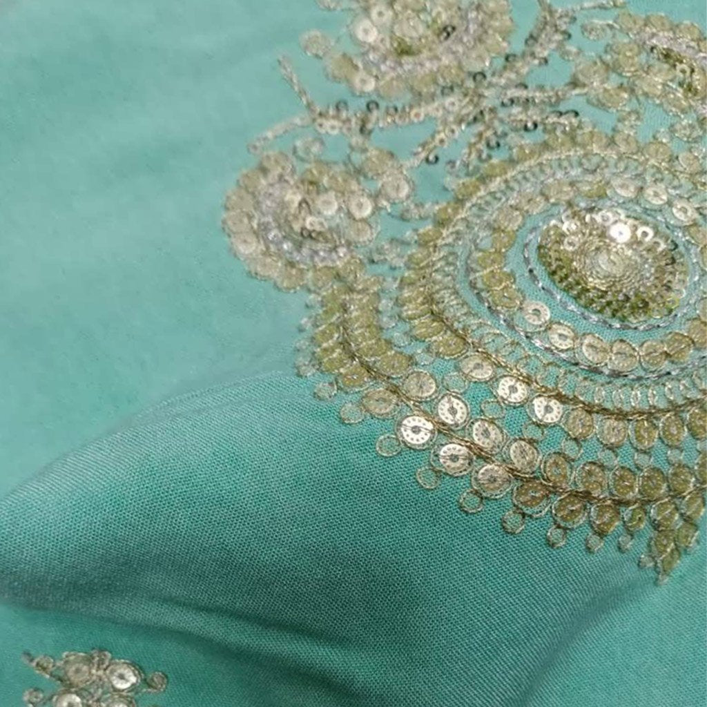 Buy Green Embroidery Fabric