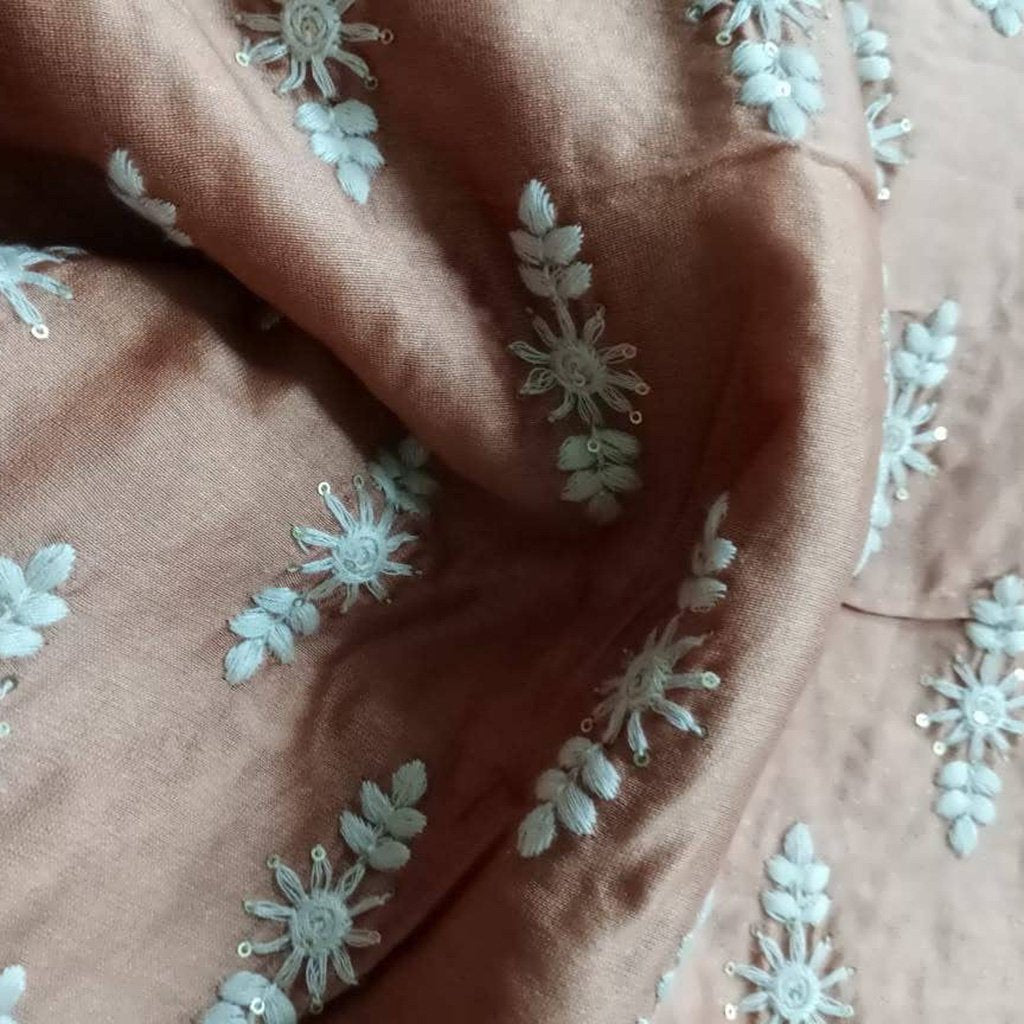 Buy Brown Chanderi Embroidery Fabric