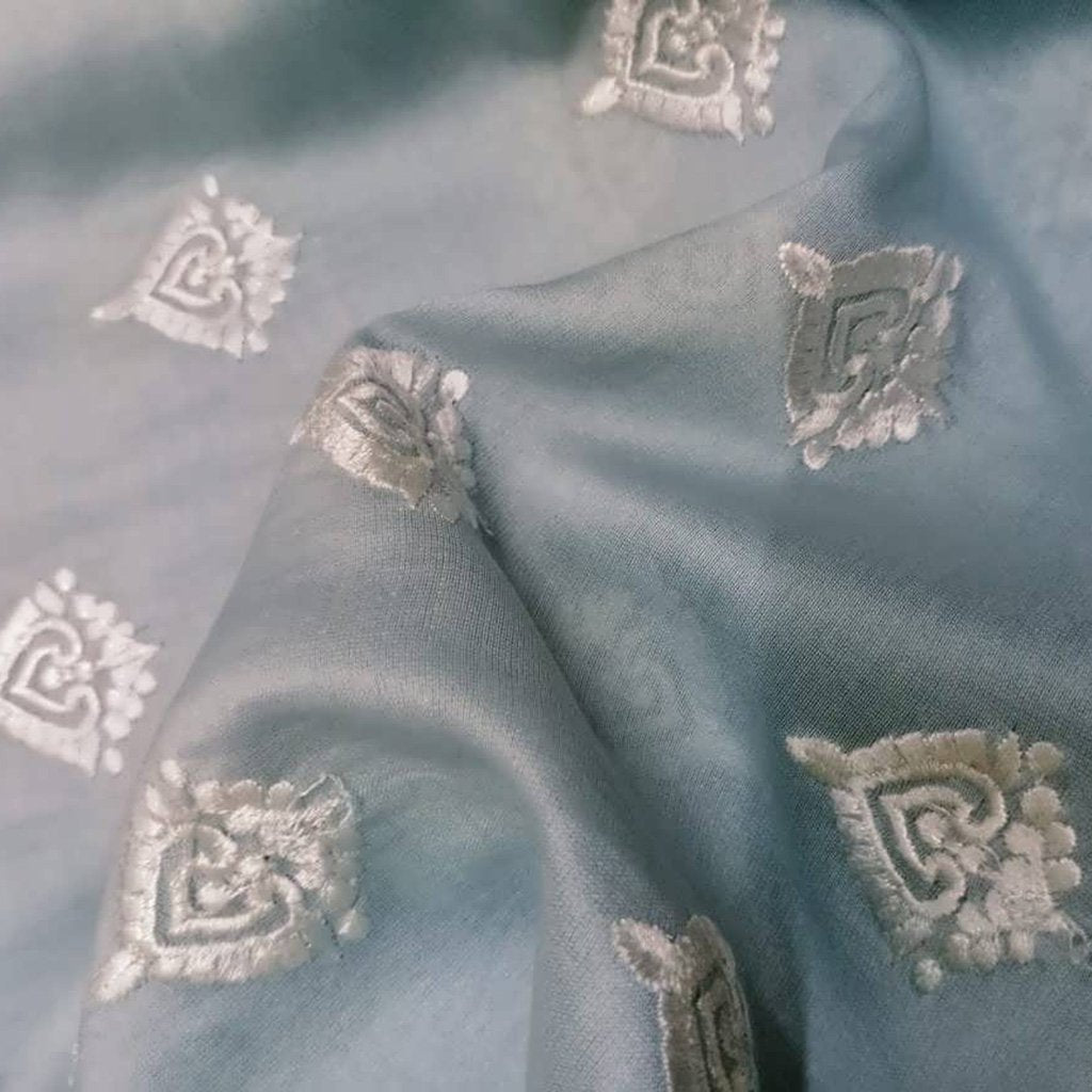 Buy Powder Blue Chanderi Embroidery Fabric