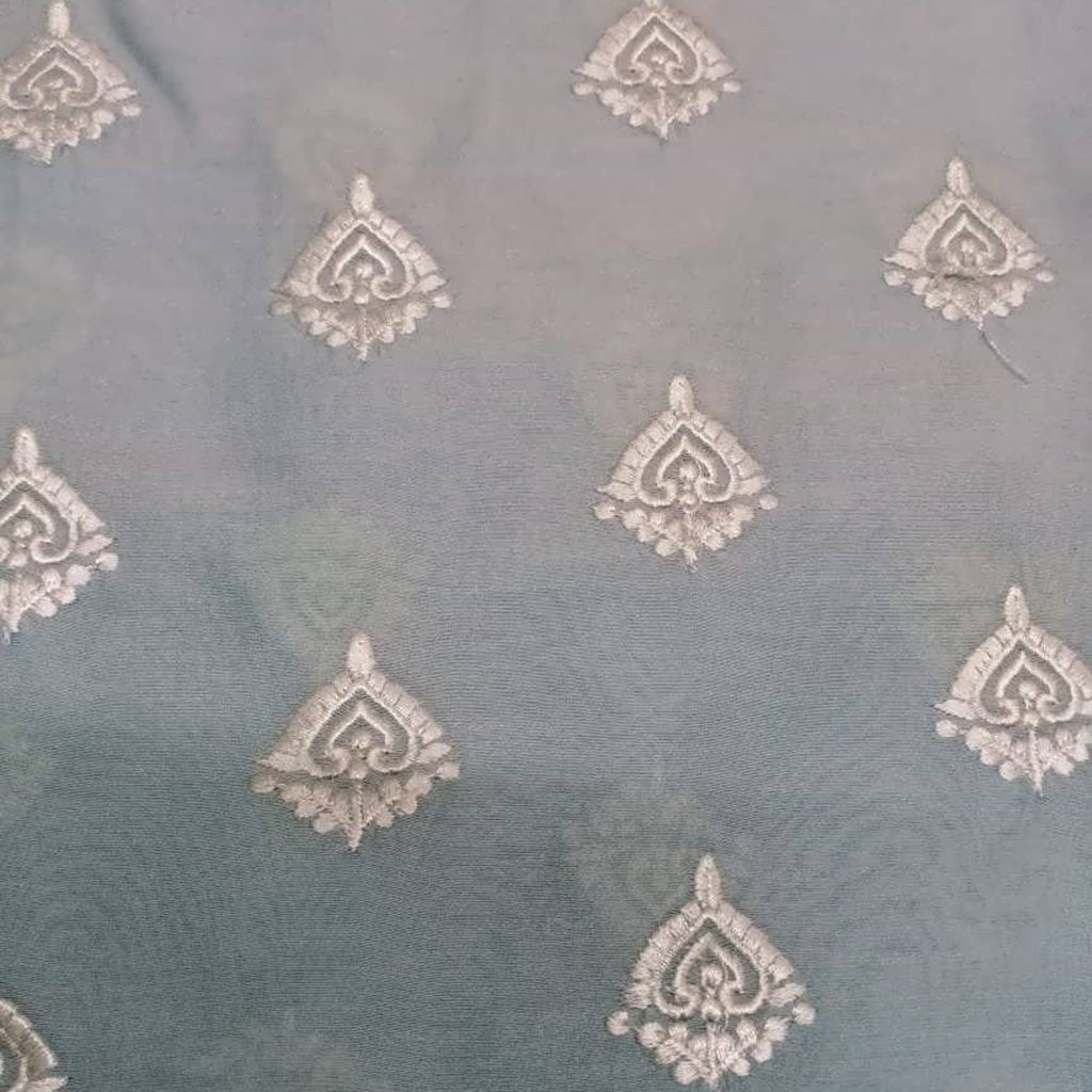 SALEFB241523-Powder Blue Chanderi Embroidery Fabric-1MTR