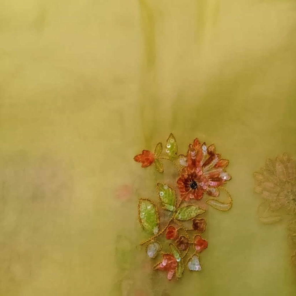 SALEFB241534-Yellow Organza Embroidery Fabric-1MTR
