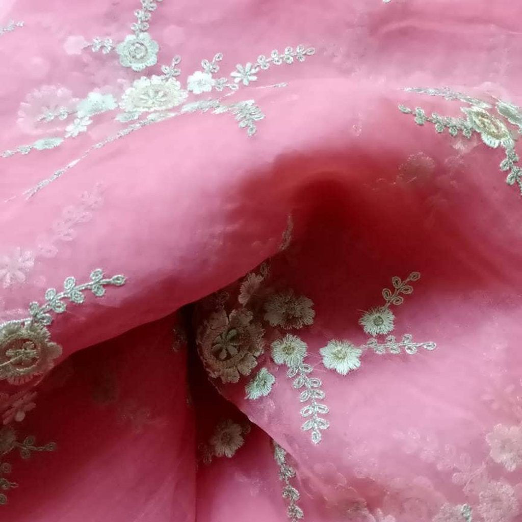 Buy PinkOrganza Embroidery Fabric