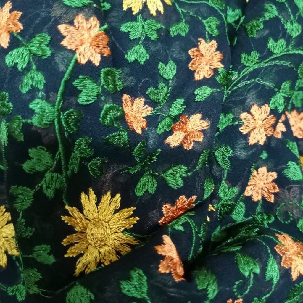 Buy BlueGeorgette Embroidery Fabric