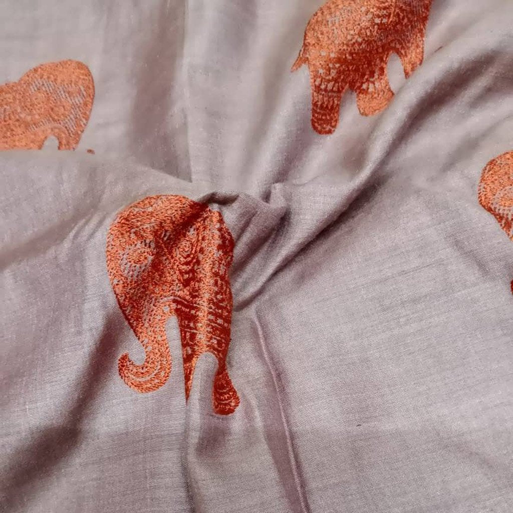 Buy BrownTussar Embroidery Fabric