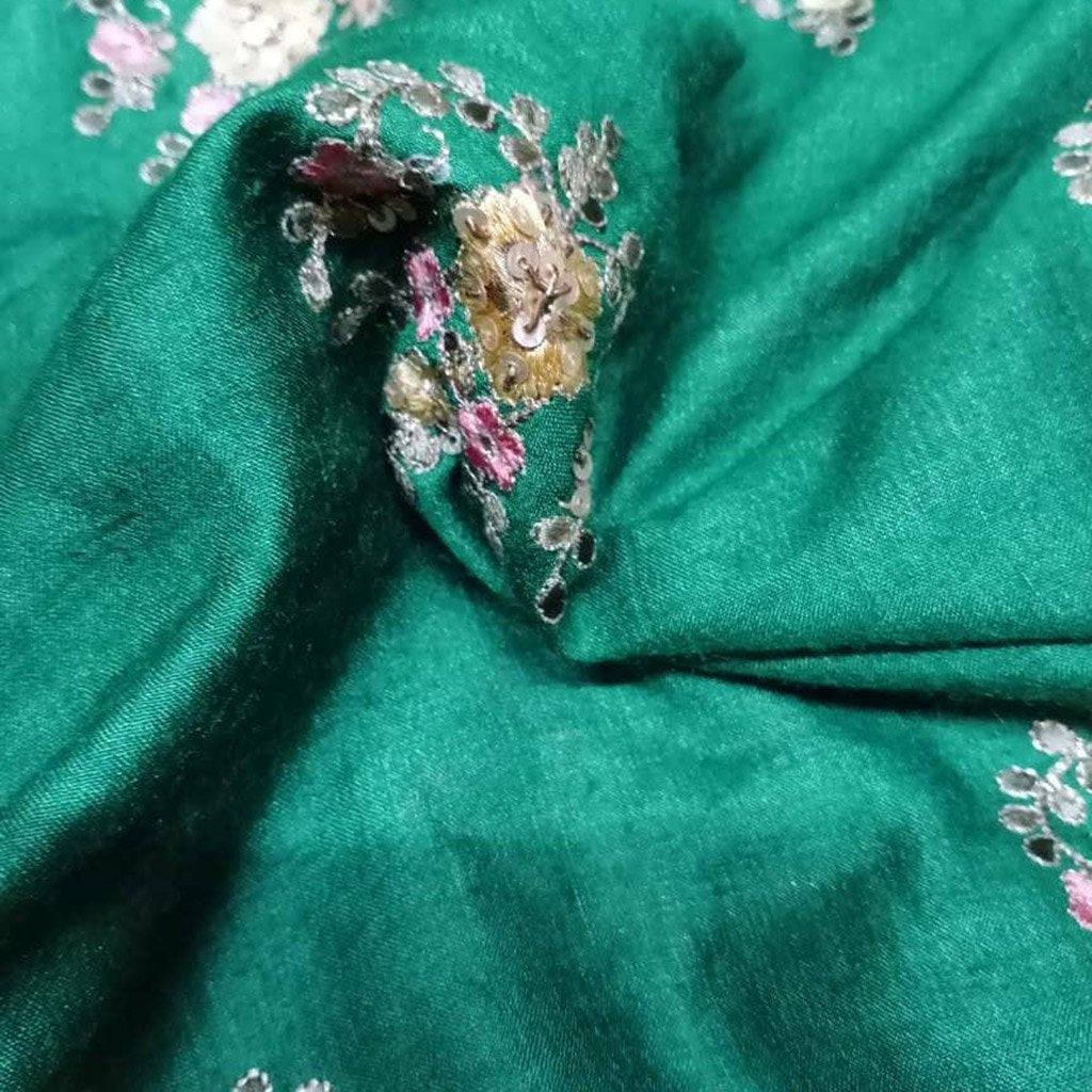 Buy GreenTussar Embroidery Fabric