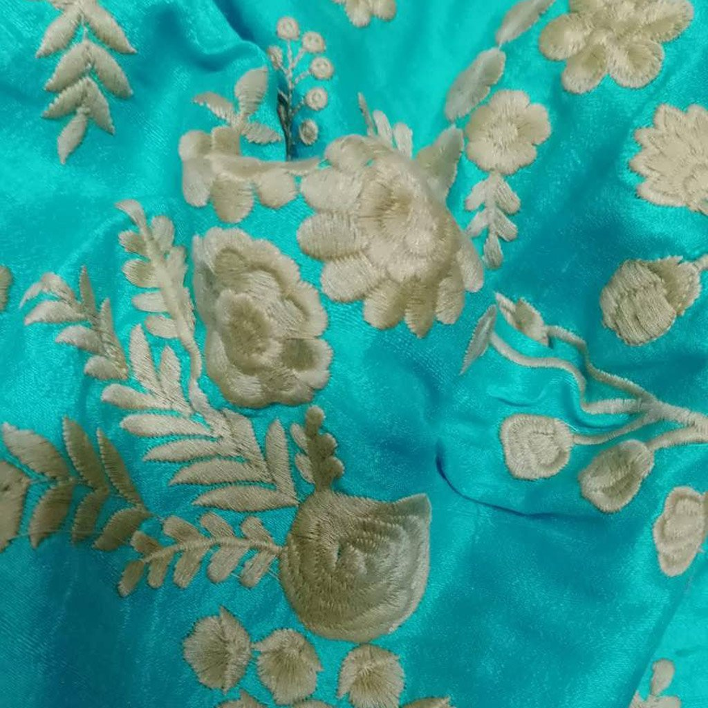 Buy BlueRaw Silk Embroidery Fabric