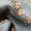 Buy GreyOrganza Embroidery Fabric
