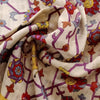 Buy Half White Raw Silk Printed Fabric